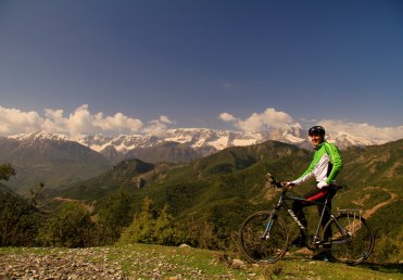 Cycling towards Benje, Albania